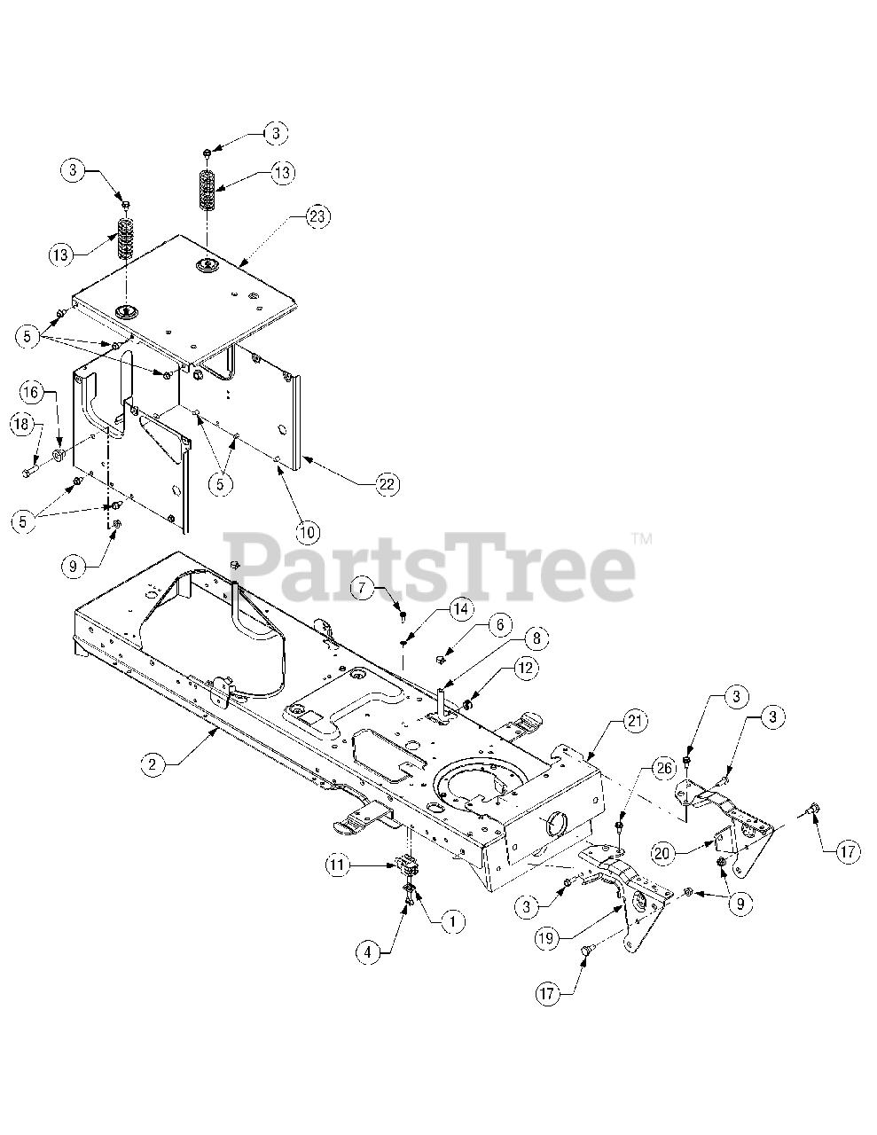 Cub Cadet Parts on the Frame Diagram for SLT 1550