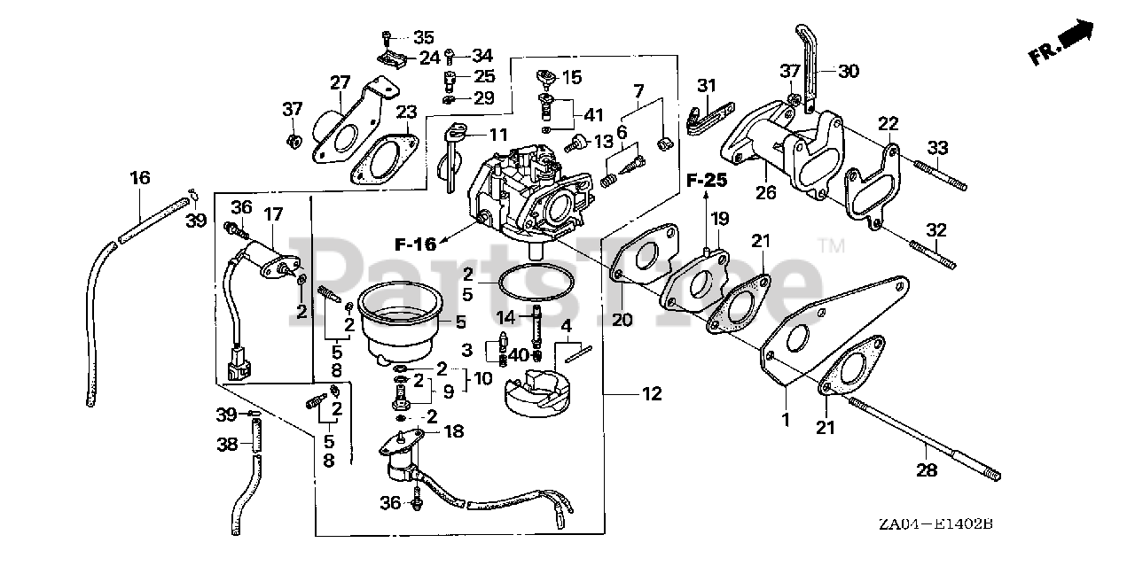 Honda Parts on the CARBURETOR Diagram for ES6500 K2 A (EA1