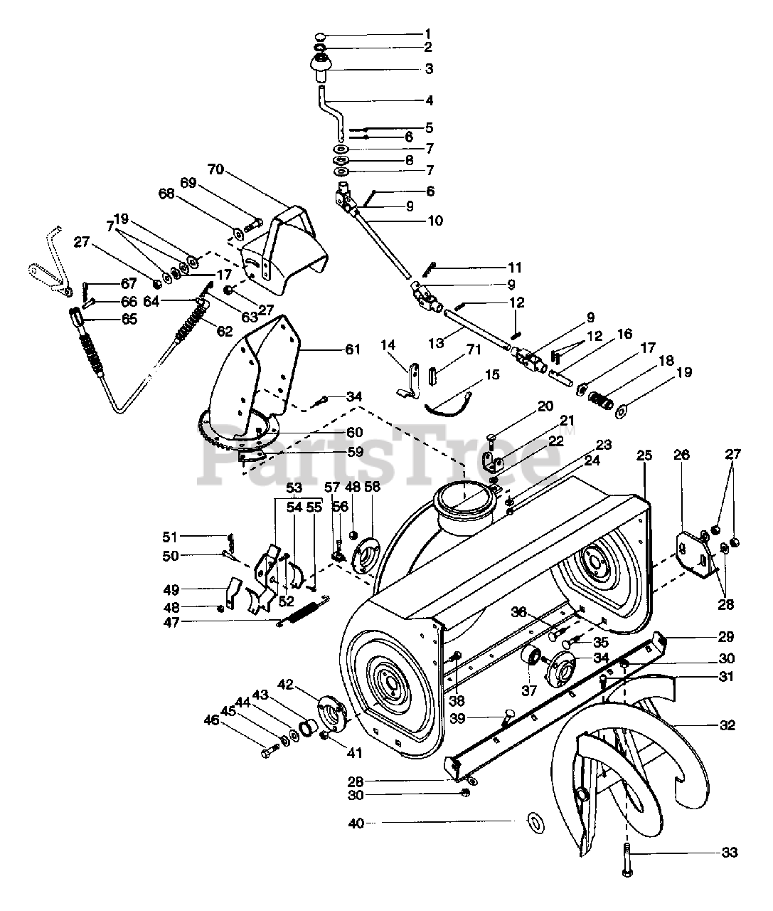 Ariens Parts on the Auger And Impeller Diagram for 924082