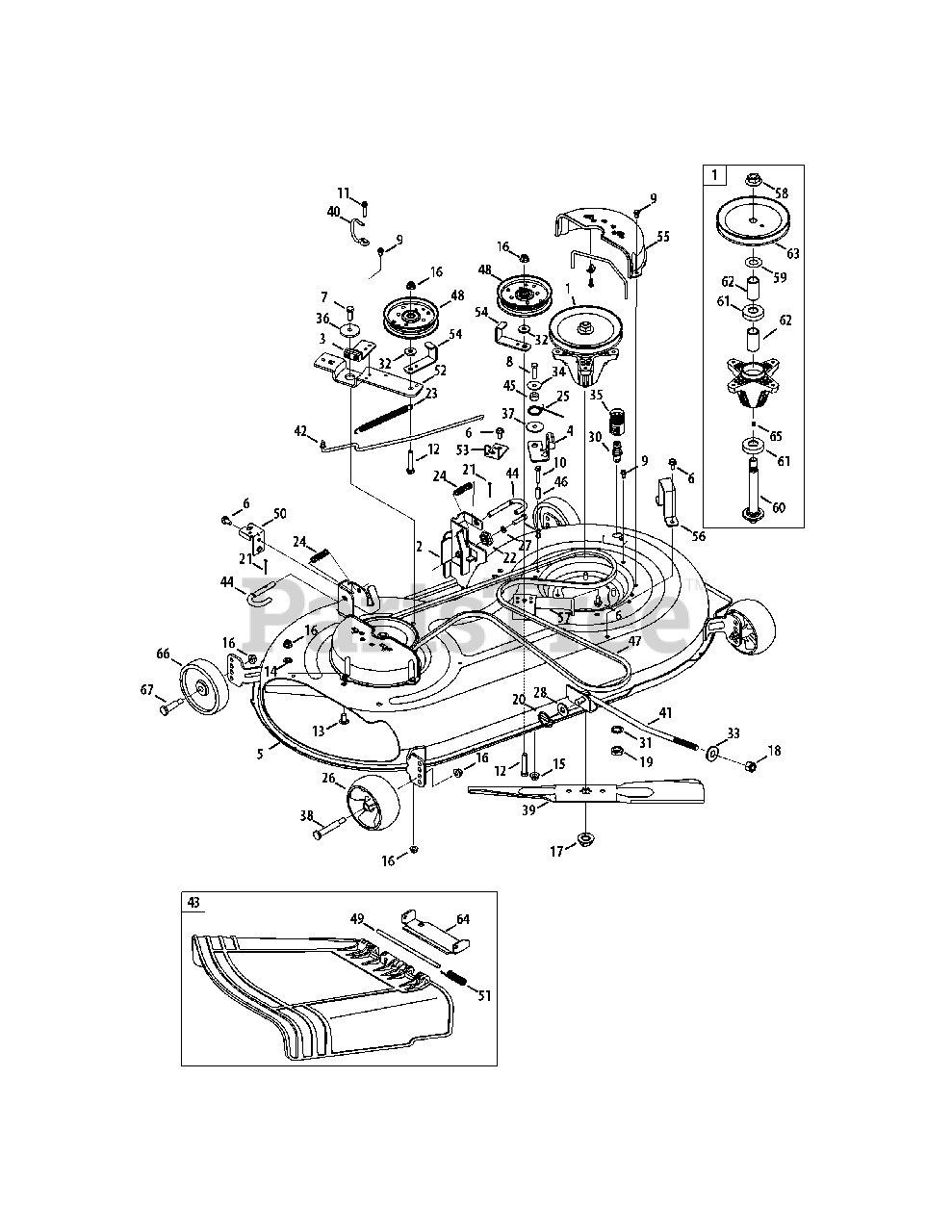 Cub Cadet Parts on the Mower Deck 42-inch Diagram for LTX