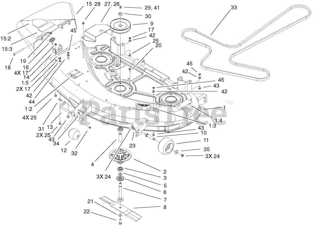 Toro Parts On The 44 Inch Deck Assembly Diagram For