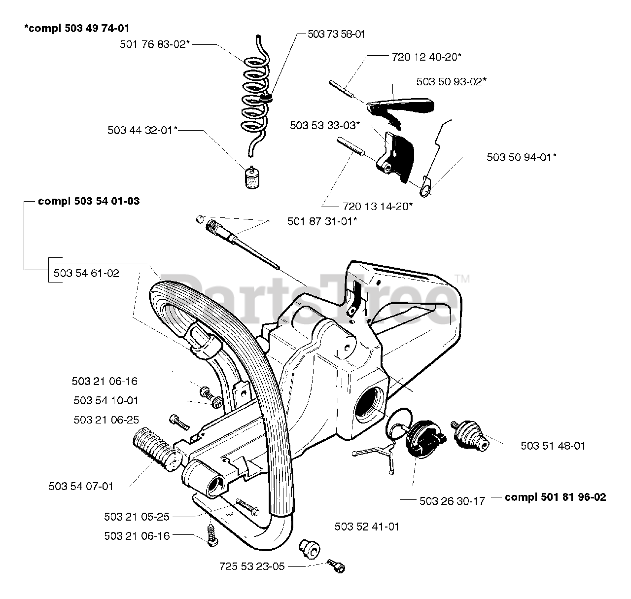 Husqvarna Parts on the Tank Assembly Diagram for 261 EPA
