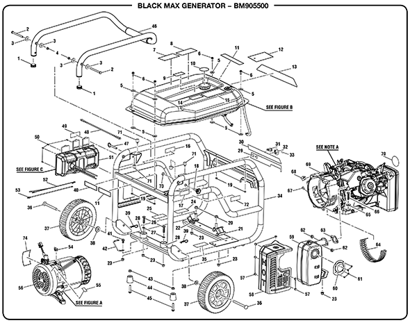 BlackMax BM905500 5500 Watt Generator Parts and