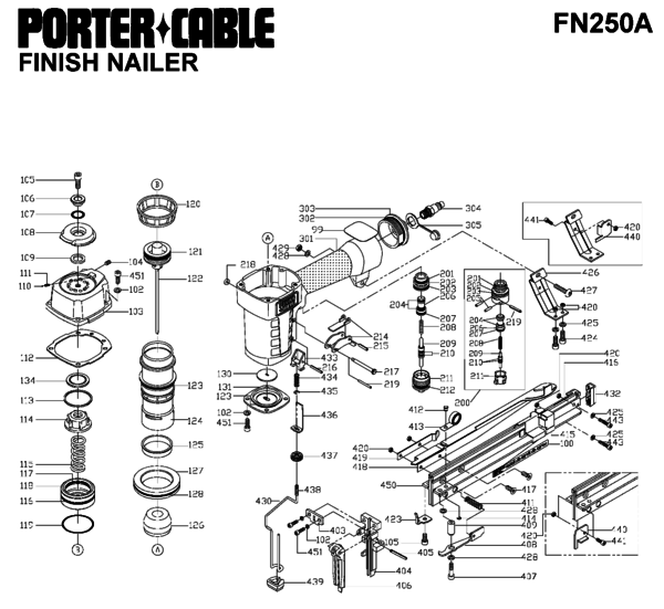 Porter Cable FN250A Nailers Parts| PartsWarehouse