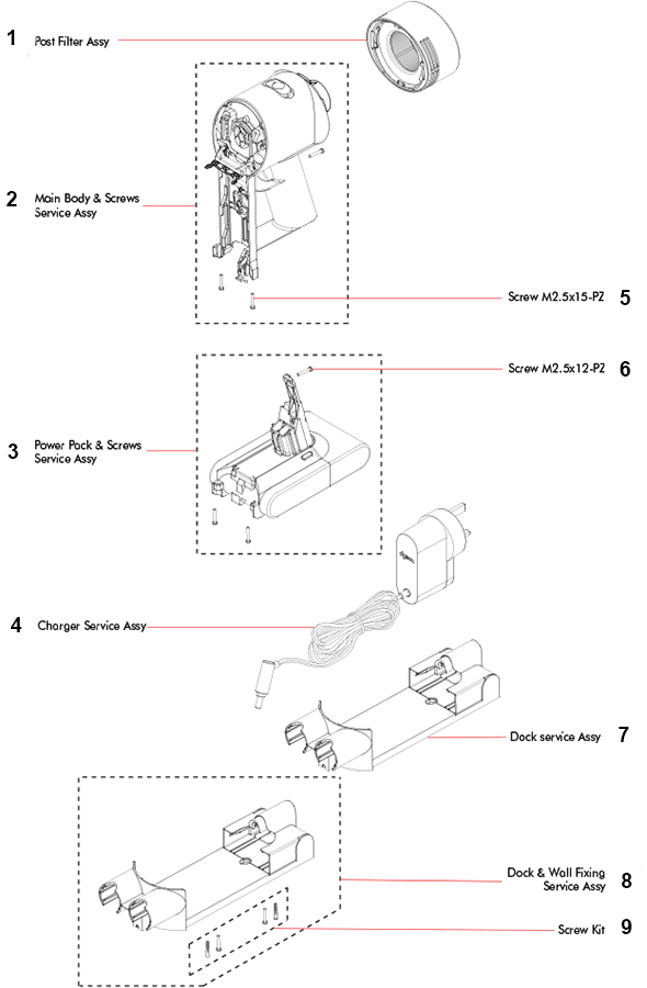 Dyson SV11 V7 Motorhead Parts and Accessories