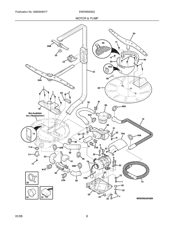 Electrolux EWDW6505GS0 Dishwasher Parts and Accessories at