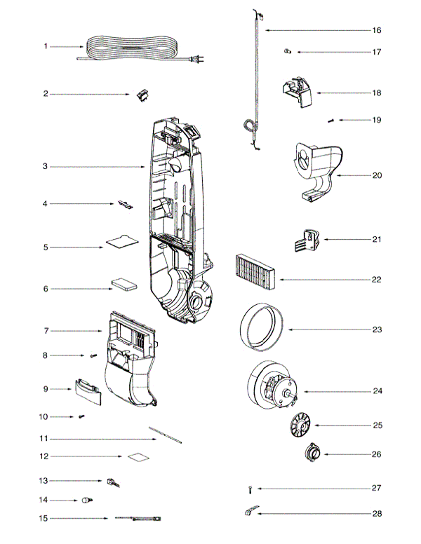 Eureka 2905A Contour Upright Parts and Accessories