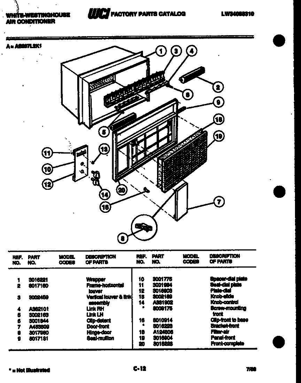 White-Westinghouse AS287L2K1 (V1) Air Conditioner Parts