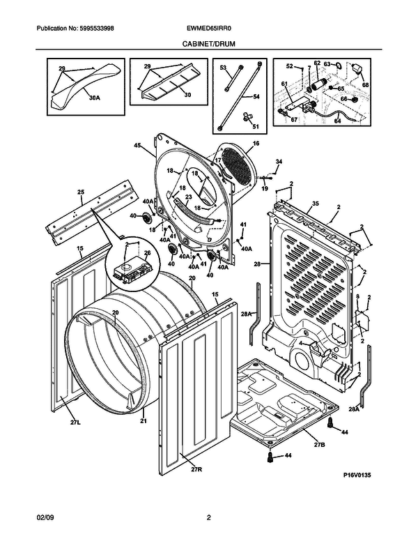 Frigidaire EWMED65IRR0 Dryer Parts and Accessories at