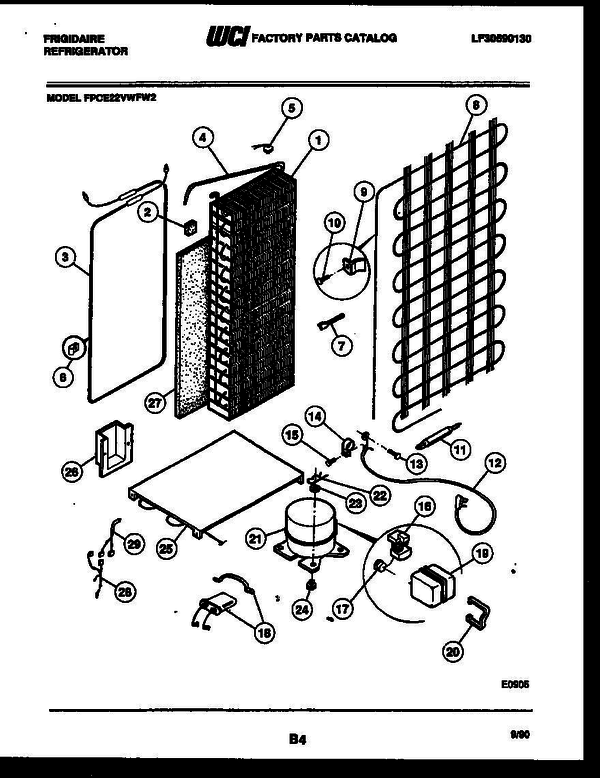 Frigidaire FPCE22VWFA2 Side-by-Side Refrigerator Parts and