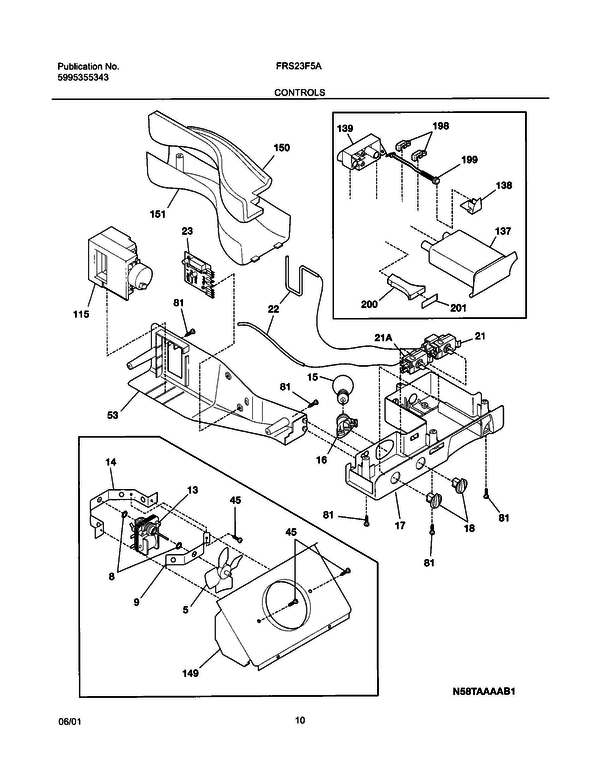 Frigidaire FRS23F5AB1 Side-by-Side Refrigerator Parts and