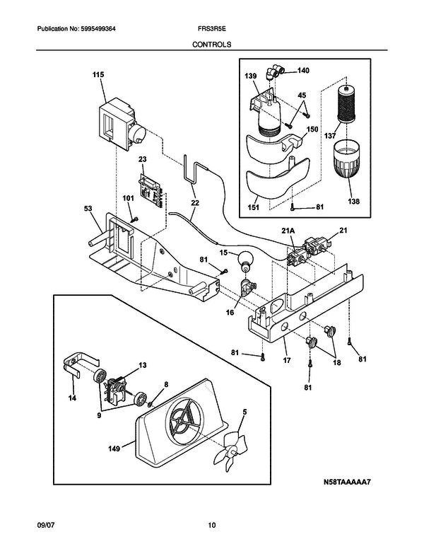 Frigidaire FRS3R5ESB3 Side-by-Side Refrigerator Parts and