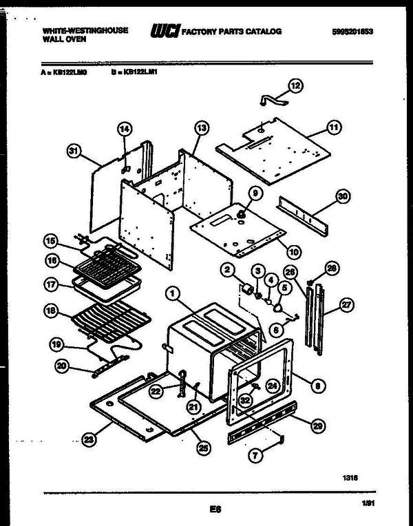 White-Westinghouse KB122LM0 (V1) Oven Parts and