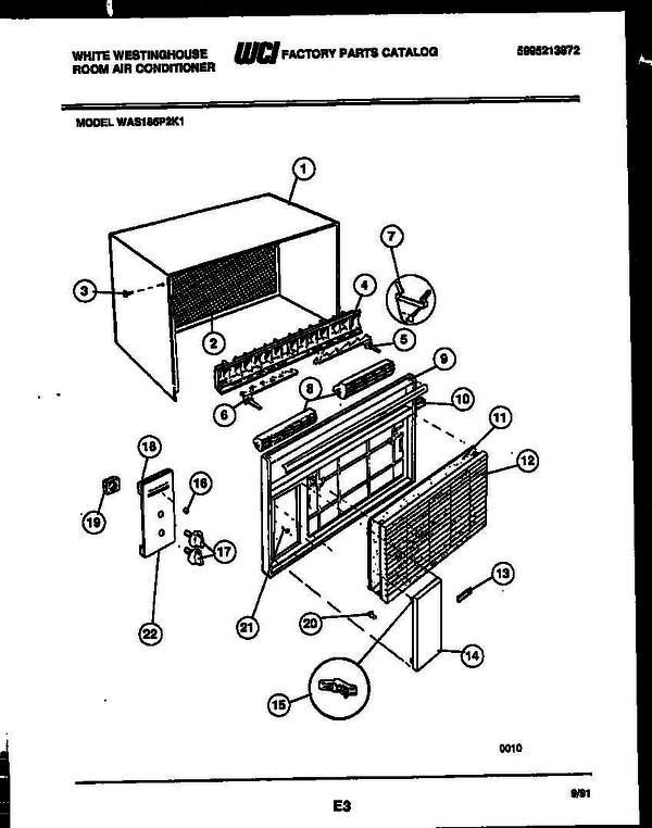 White-Westinghouse WAS186P2K1 (V1) Room Air Conditioner