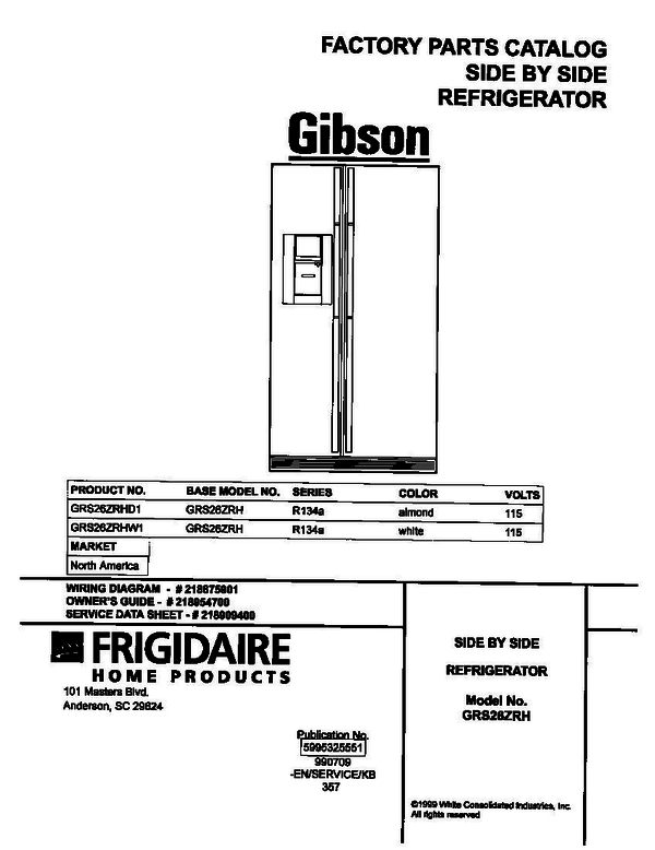 Gibson GRS26ZRHW1 Side-by-Side Refrigerator (P5995325551