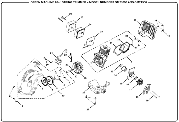 GreenMachine GM21506 26cc String Trimmer Parts and