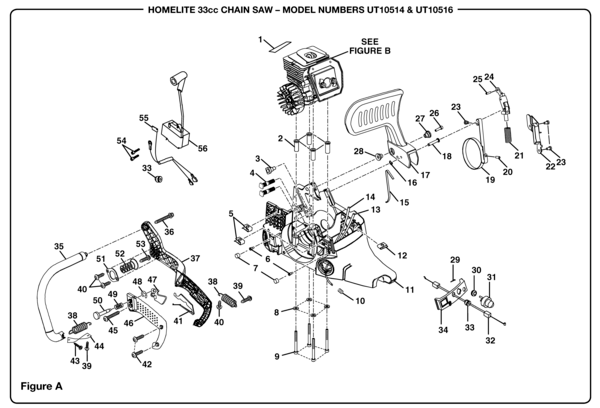 Homelite 33cc Chain Saw UT-10516 Parts and Accessories