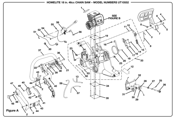 Homelite SUPER 2 Chain Saw UT-10552 Parts and Accessories