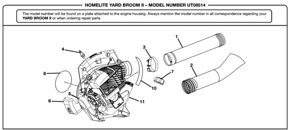 Homelite Vac Attack II Blower UT-08514 Parts and