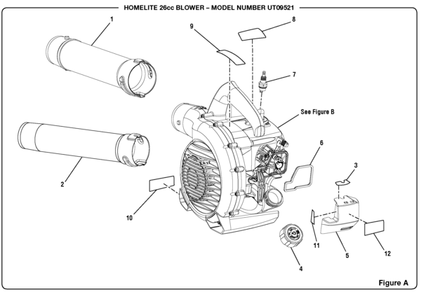 Homelite UT09521 26cc Blower Parts and Accessories