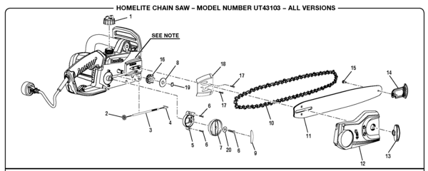 Homelite UT43103 Electric Chain Saw Parts and Accessories