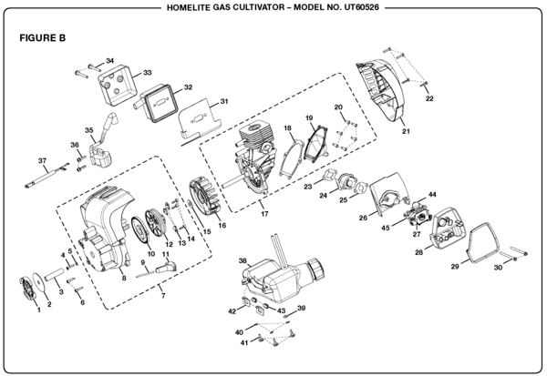 Homelite Gas Cultivator UT60526 Parts and Accessories