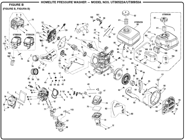 Homelite UT80522A Pressure Washer Parts and Accessories