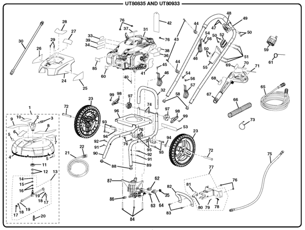 Homelite UT80835 Pressure Washer Parts and Accessories
