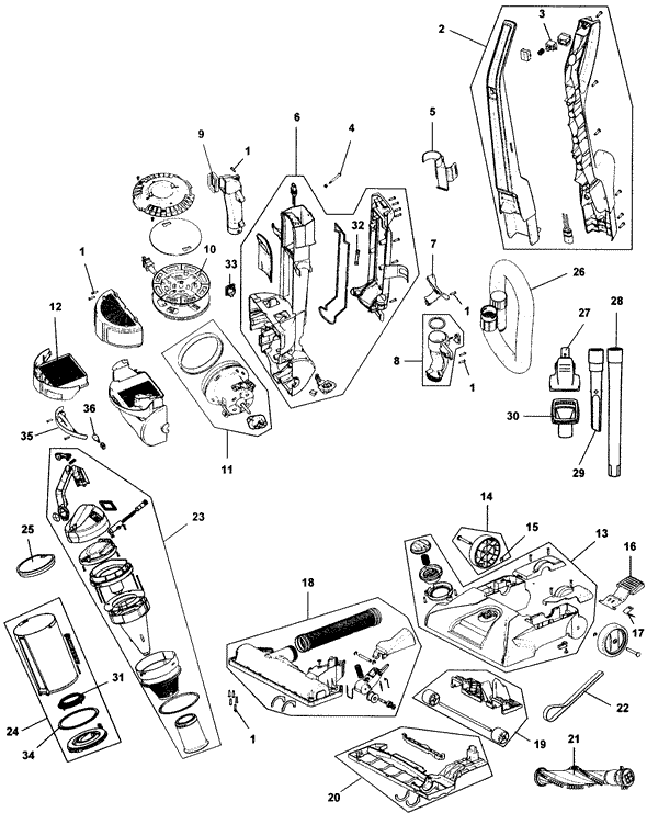 Hoover UH70202 WindTunnel ' Clean' Repair Parts
