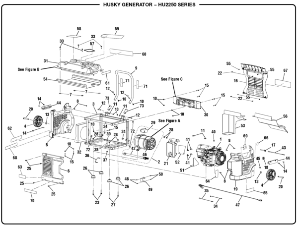 Husky HU2250 Series Watt Generator Parts and Accessories