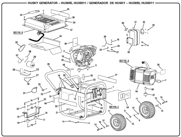 Husky HU36511 3,650 Watt Generator Parts and Accessories