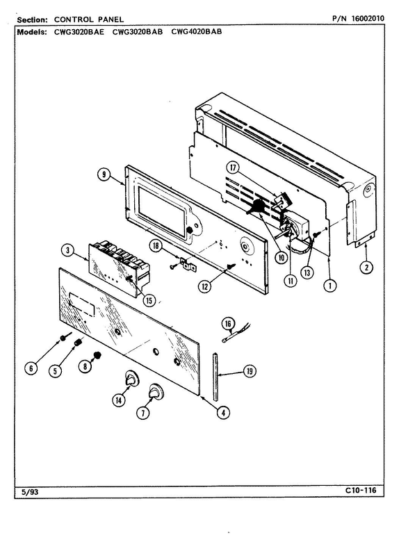 Maytag CWG3020BAB Built-in Gas Oven Parts and Accessories