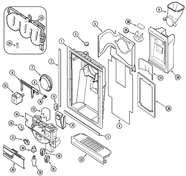 Maytag GS2414CXFQ Side-by-Side Refrigerator Parts and
