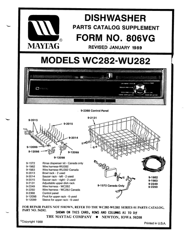 Maytag WU282 Dishwasher Parts and Accessories at