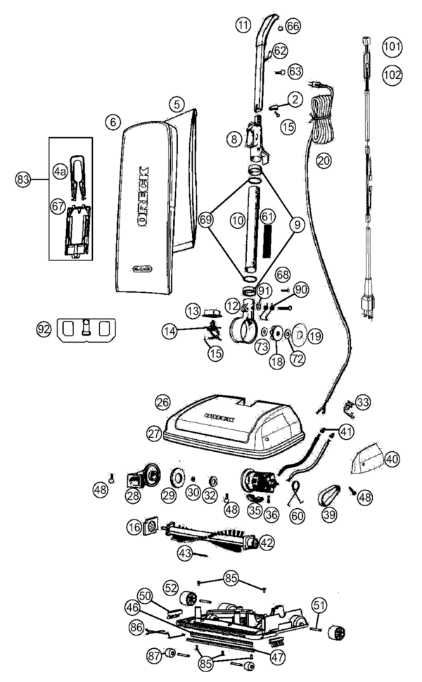 Oreck U2250RS XL Classic Parts and Accessories- PartsWarehouse