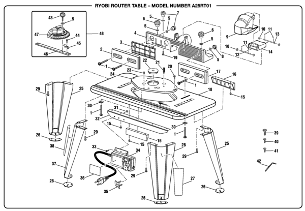 Ryobi A25RT01 Router Table Parts and Accessories