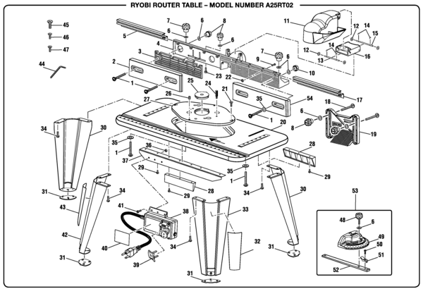 Ryobi A25RT02 Router Table Parts and Accessories