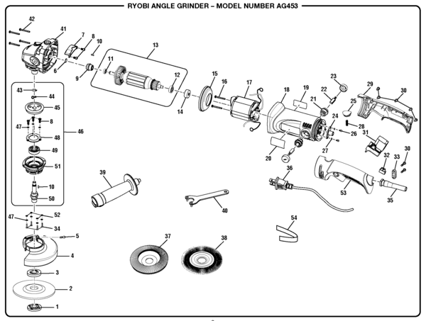 Ryobi AG453 Angle Grinder Parts and Accessories