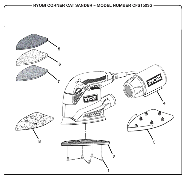 Ryobi CFS1503G Corner Cat Sander Parts and Accessories