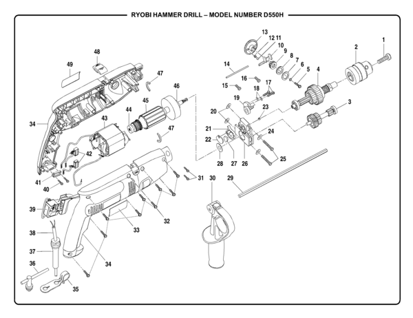 Ryobi D550H Hammer Drill Parts and Accessories- PartsWarehouse