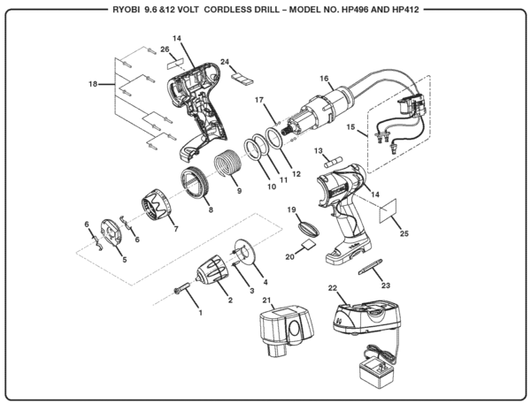 Ryobi HP412 12 Volt Cordless Drill Parts and Accessories