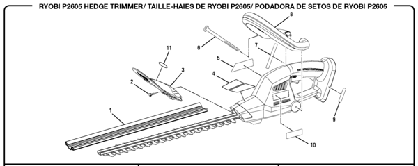 Ryobi P2605 Hedge Trimmer Parts and Accessories