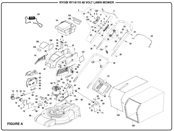 Ryobi RY14110 48 Volt Lawn Mower Parts and Accessories
