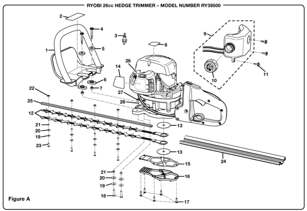 Ryobi RY39500 26cc Hedge Trimmer Parts and Accessories