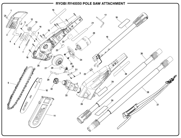 Ryobi RY40050 Pole Saw Attachment Parts and Accessories
