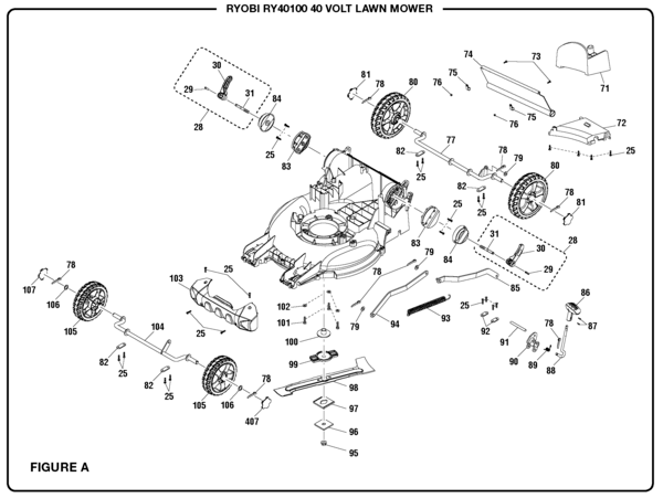 Ryobi RY40100 40 Volt Lawn Mower Parts and Accessories