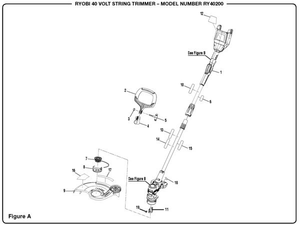ryobi string trimmer parts diagram chevelle wiring 1971 ry40200 40 volt and accessories