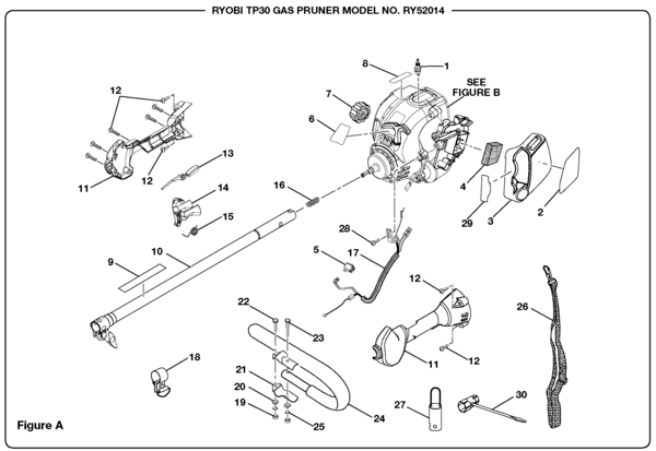 Ryobi RY52014 Gas Pruner (TP30) Parts and Accessories