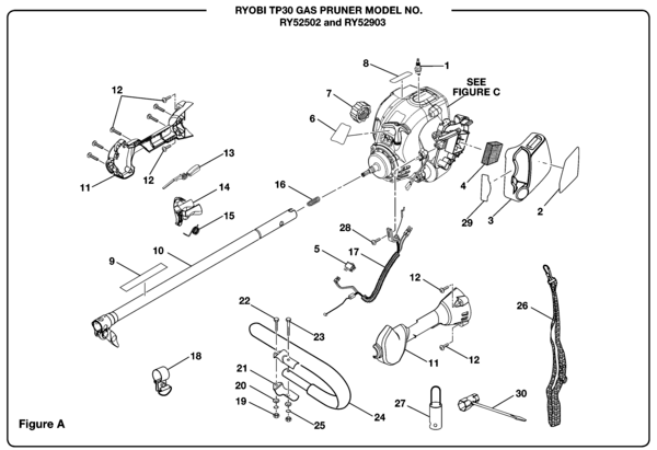 Ryobi RY52502 Gas Pruner (TP30) Parts and Accessories