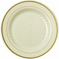 Masterpiece Ivory Gold Trim Premium 9-inch Plastic Plates ...